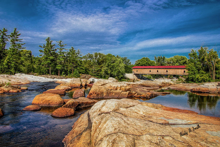 Covered bridge over east branch of the Ausable River Jay New Yor by Rusty R Smith