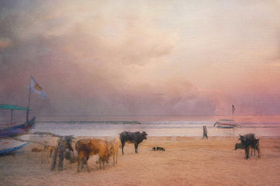Cow and Dog Conversation on the Beach by Caroline Jensen