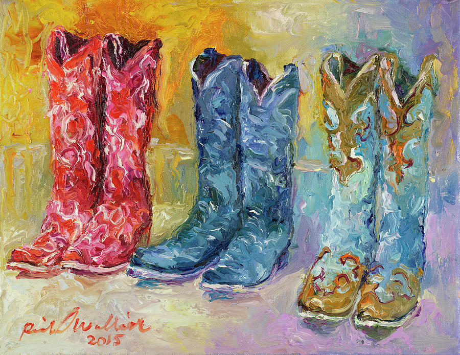 Cowboy Boots Painting By Richard Wallich