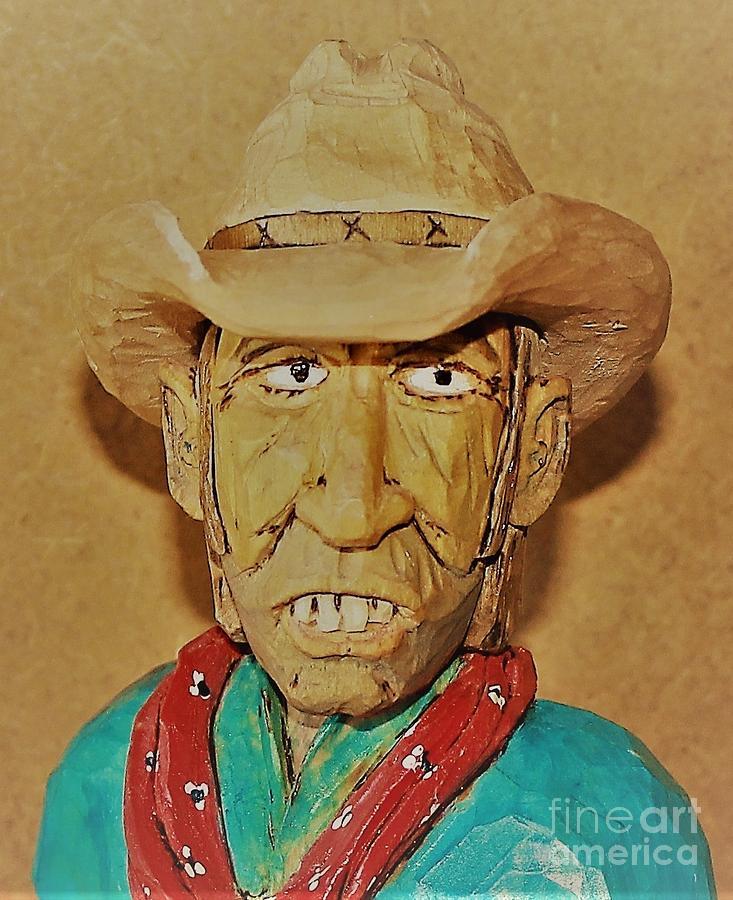 Cowboy Sculpture - Cowboy Buck Teeth by Don n Leonora Hand