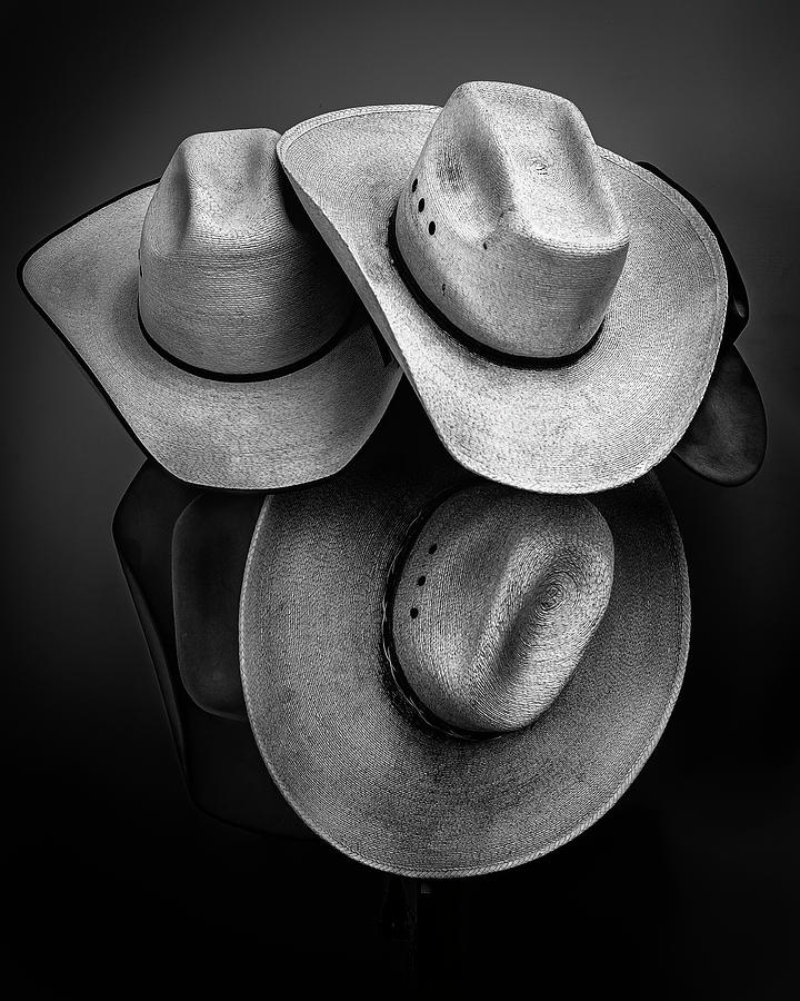 Cowboy Hats in Black and White by James Sage