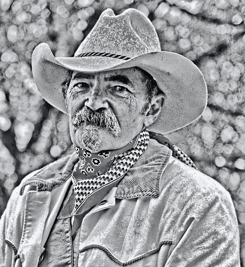 Cowboy, black and white by Bill Jonscher