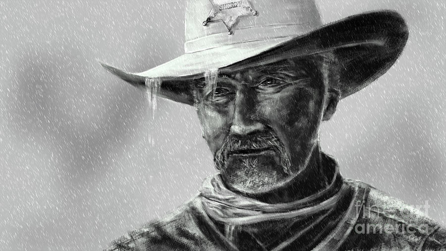 Cowboy Sheriff in Rain by Jan Brons