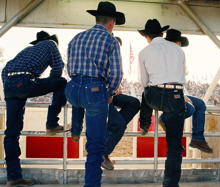 Cowboys Watching Rodeo Arena, Rear View Photograph by Reza Estakhrian