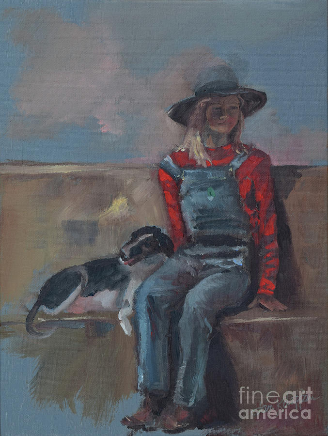 Cowgirl and Dog -Farmer by Jan Dappen
