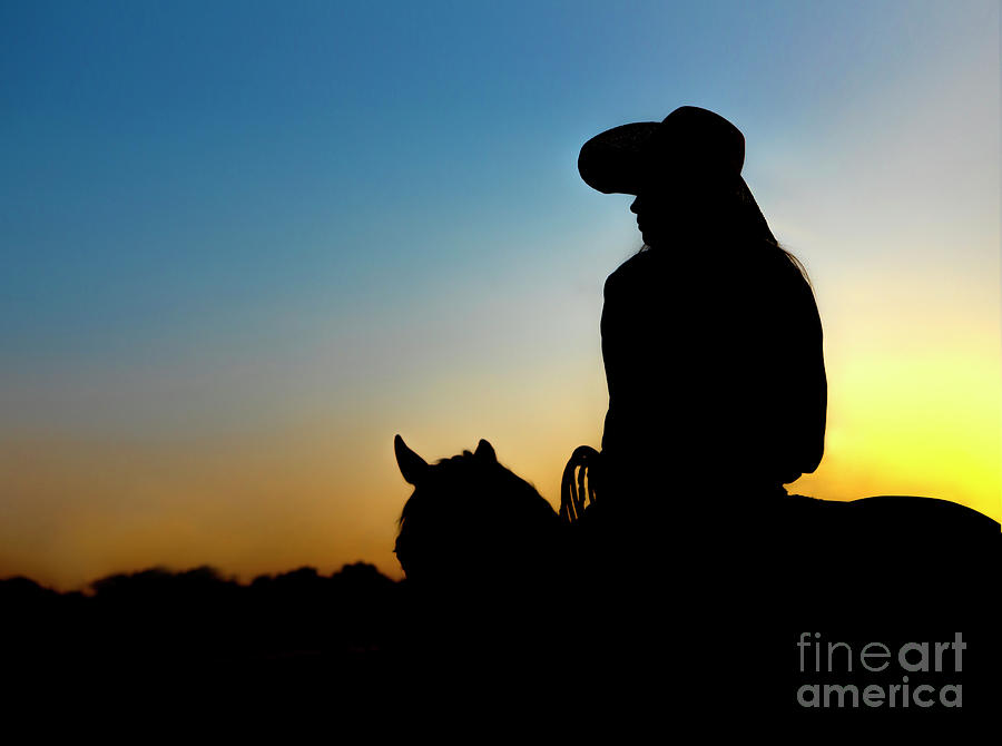 Cowgirl At Sunset Photograph