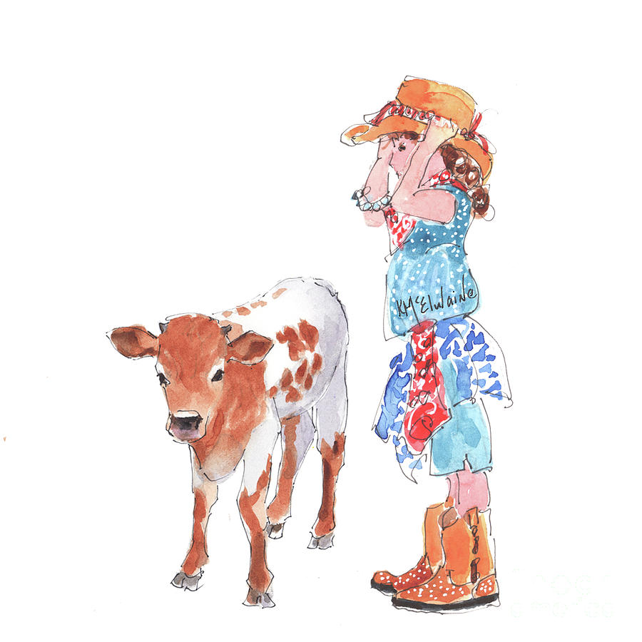 Cowgirl Meets Baby Bull  by Kathleen McElwaine