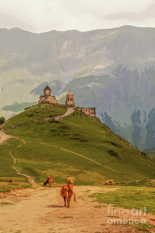 Cows grazing in mountains-Gergeti Trinity Church perched on moun by Susan Vineyard