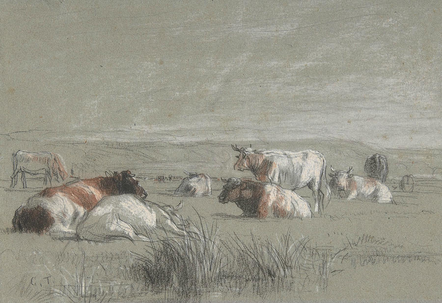 Cows in a Landscape by Constant Troyon