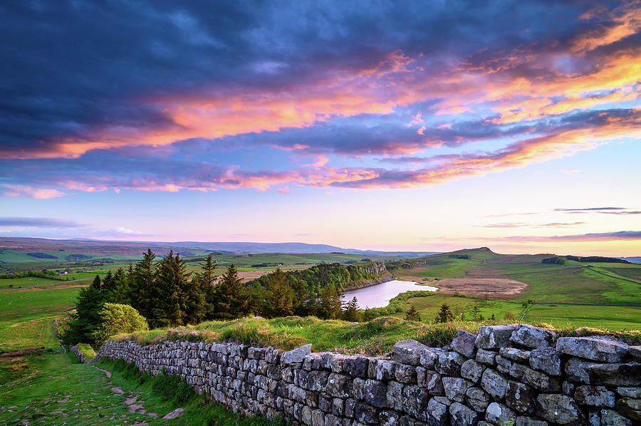 Crag Lough and Hadrian's Wall at Sunset Photograph by David Head