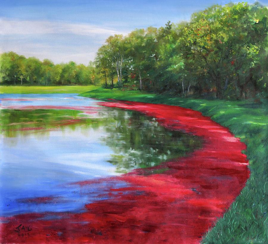 Cranberry Bog Painting - Cranberry Bog by Jonathan Guy-Gladding JAG