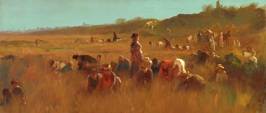 Nantucket Painting - Cranberry Pickers, Nantucket by Eastman Johnson