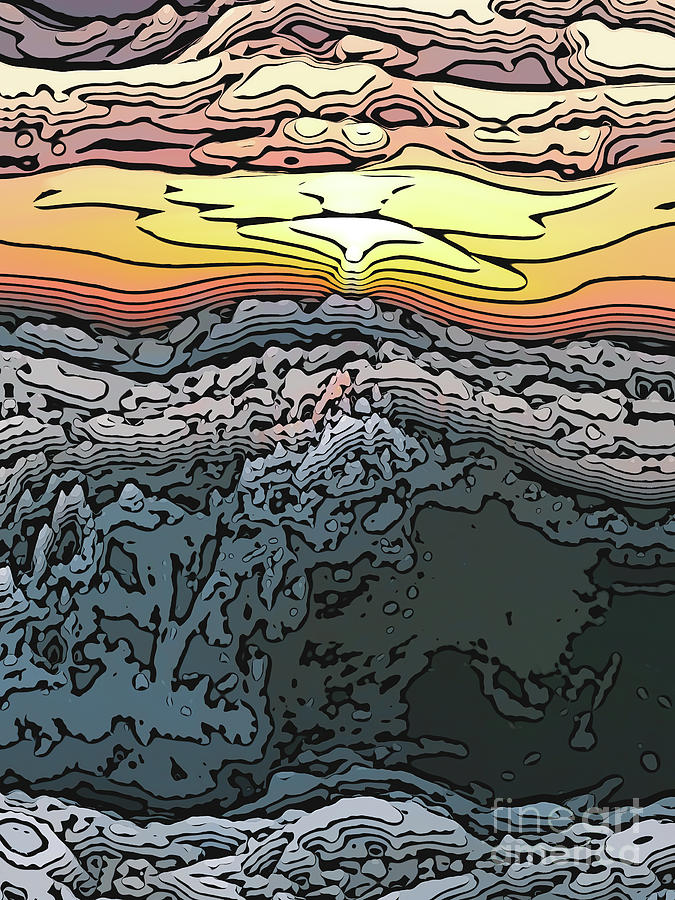 Sunset Digital Art - Crashing Waves At Sunset by Phil Perkins