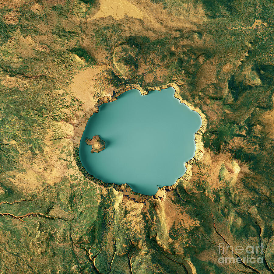 Crater Lake Topographic Map.Crater Lake 3d Render Topographic Map Color Digital Art By Frank