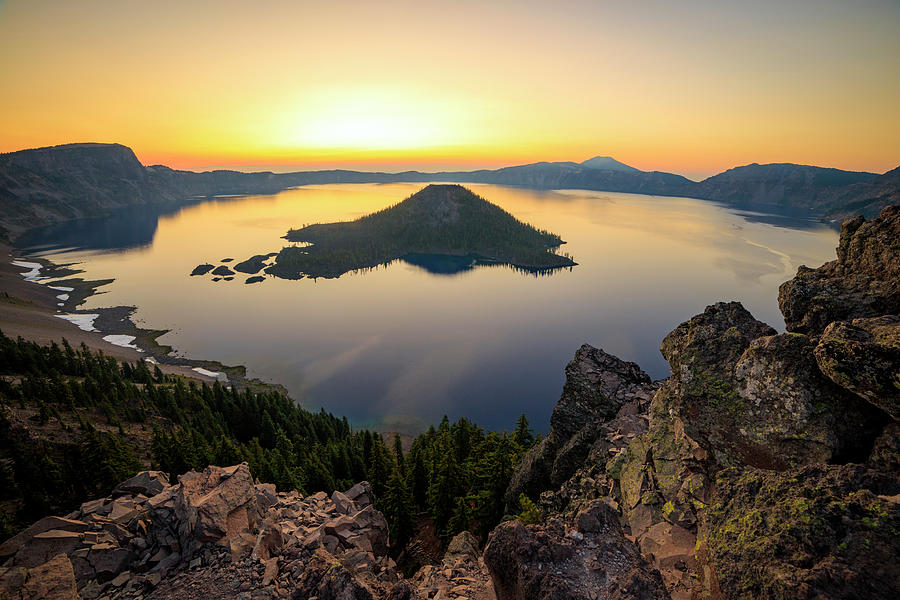 Golden Photograph - Crater Lake Sunrise by Johnny Adolphson
