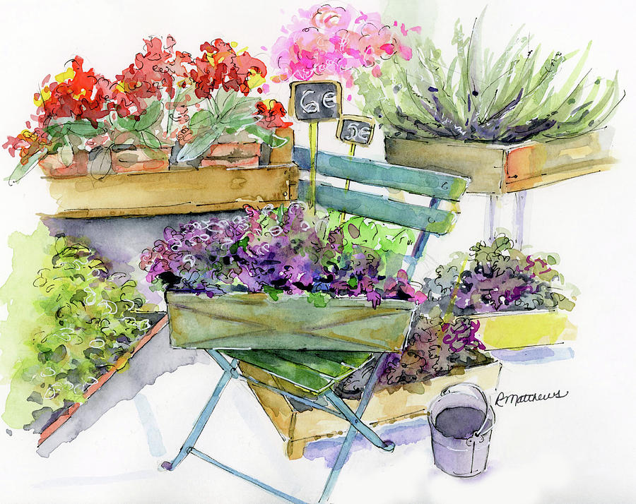 Crates of Parisian flowers by Rebecca Matthews