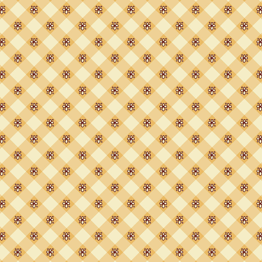 Cream Floral Gingham Pattern by Jen Montgomery