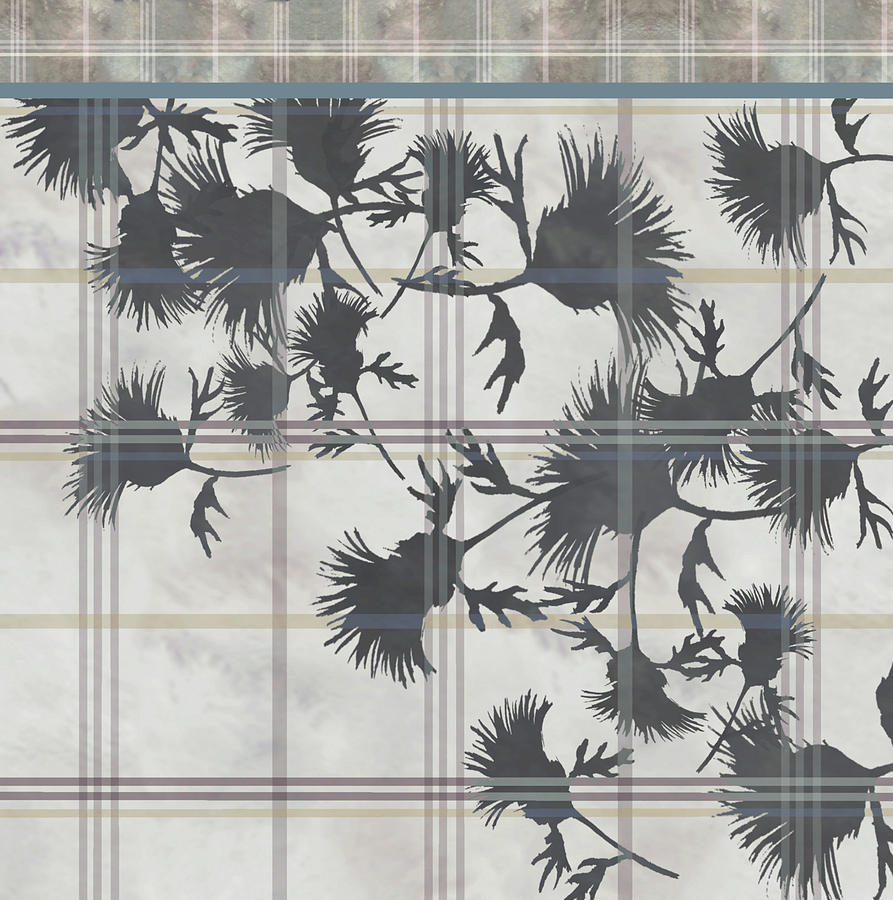 Cream Thistle Plaid Contrast Border Digital Art