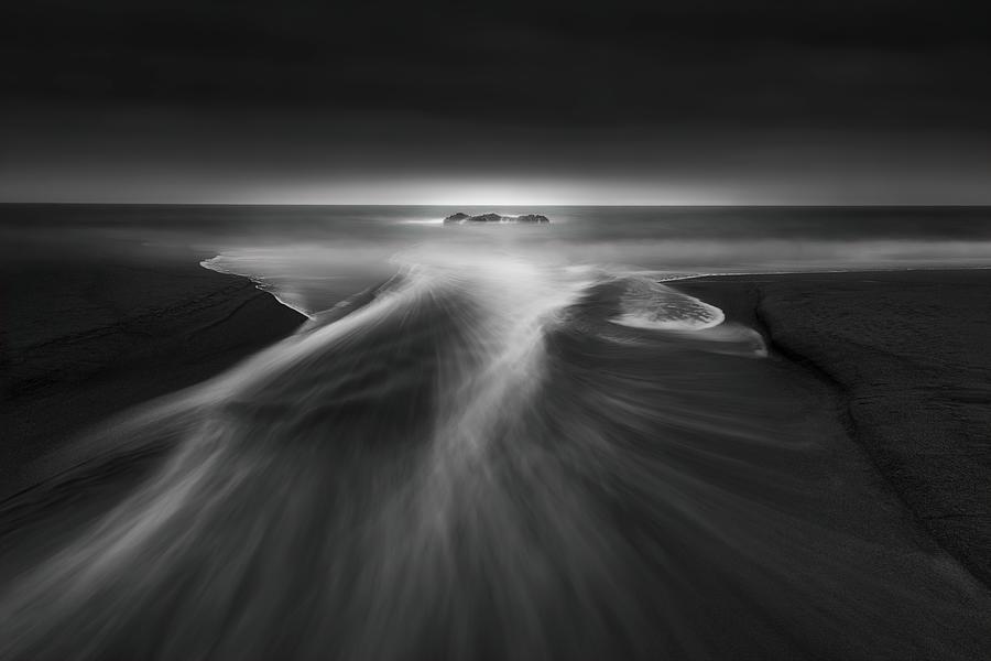 Mood Photograph - Creek Meets Ocean by Aidong Ning