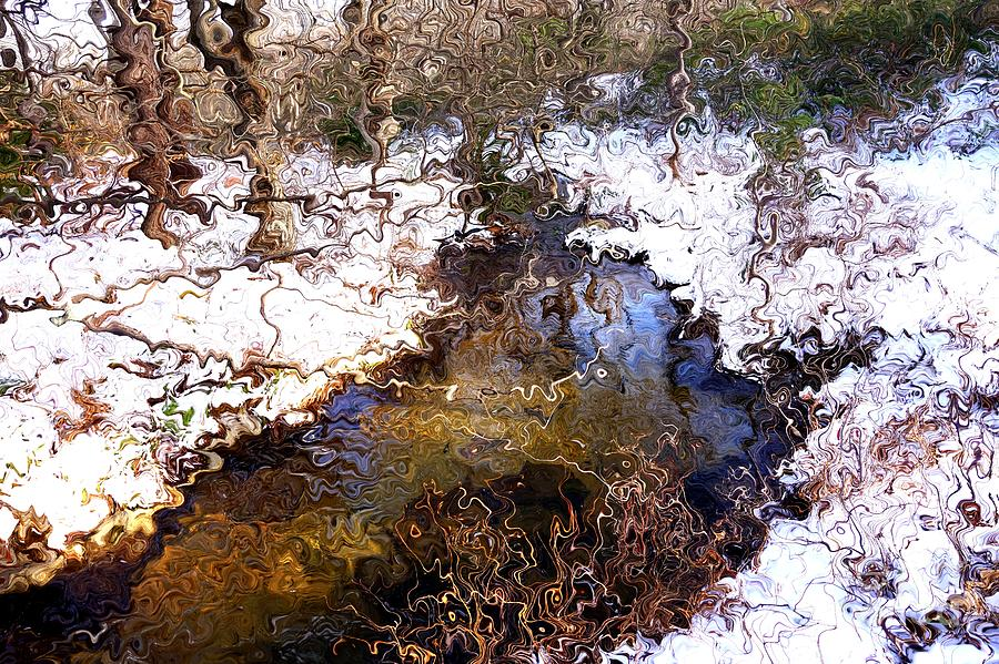 Creek with snow in Van Gogh Style by Christopher Shellhammer
