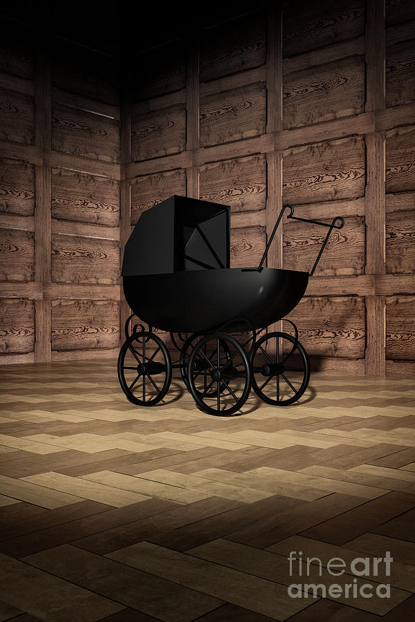 Creepy Victorian Pram in Corner by Clayton Bastiani
