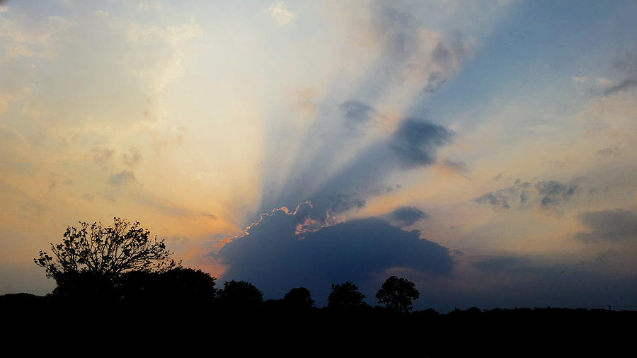 Crepuscular Rays in Oklahoma  by Ally White