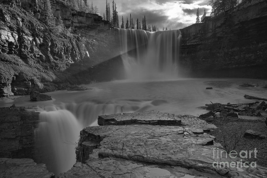 Crescent Falls Photograph - Crescent Falls Light Rays Through The Mist Black And White by Adam Jewell