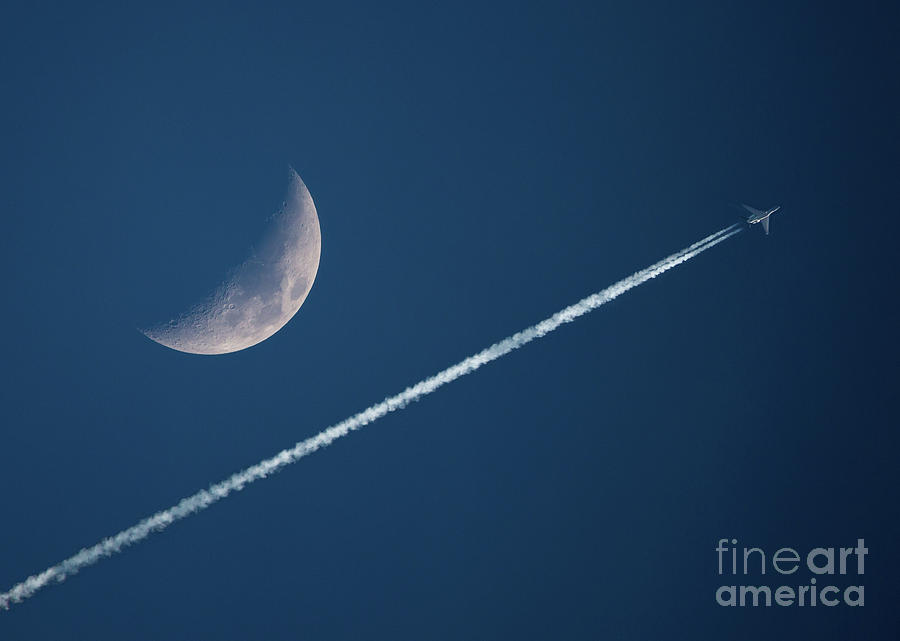 Crescent Moon and Contrails by Kevin McCarthy
