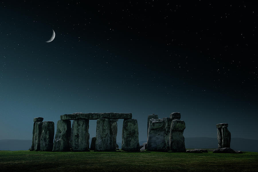 Crescent Moon Over Stonehenge Monument Photograph by Chris Clor