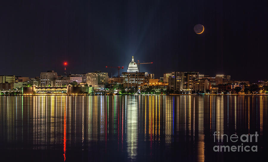 Crescent Moon Rests In Madison Skyline by Jackie Johnson