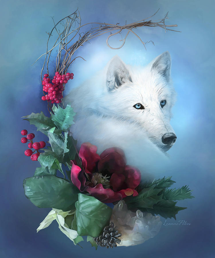 White Wolf Painting - Crescent Wild Winter Solstice by Art And A Little Magic