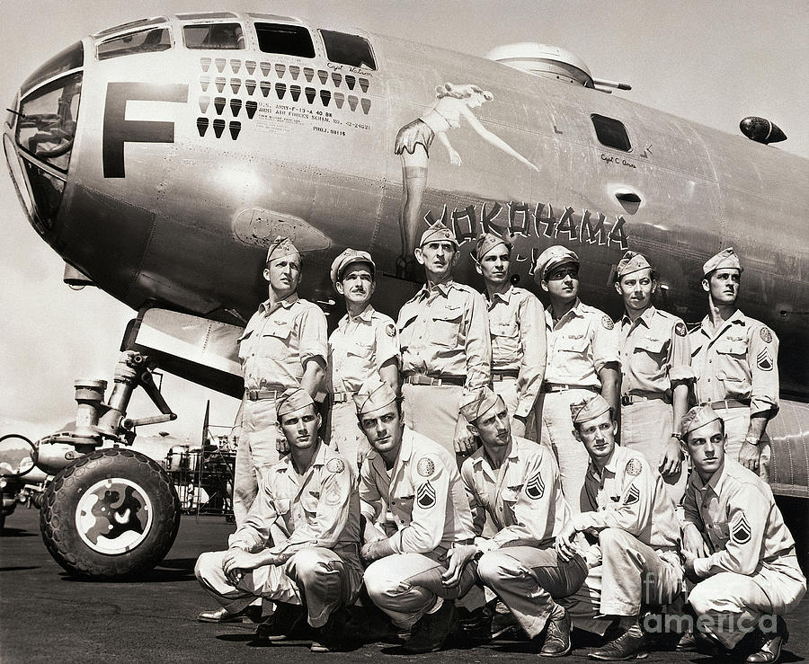 Crew Standing With B-29 Superfortress Photograph by Bettmann