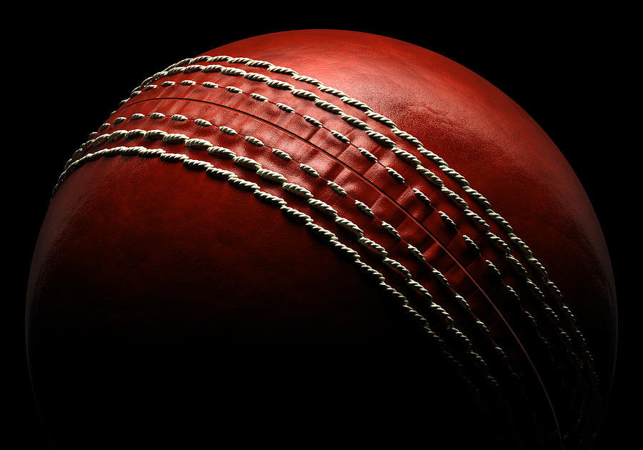 Cricket Ball On Black Background Photograph by Ian Mckinnell