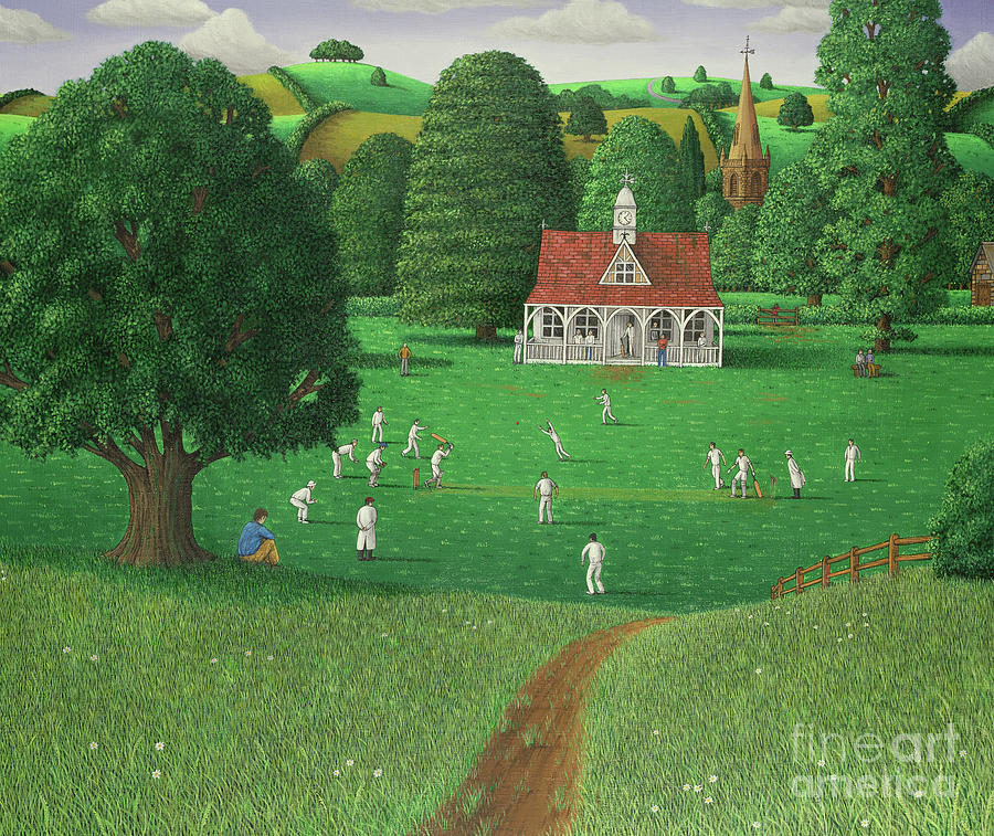 Cricket Painting - Cricket Match at St. Marys Grange, Wiltshire, 1986  by Larry Smart