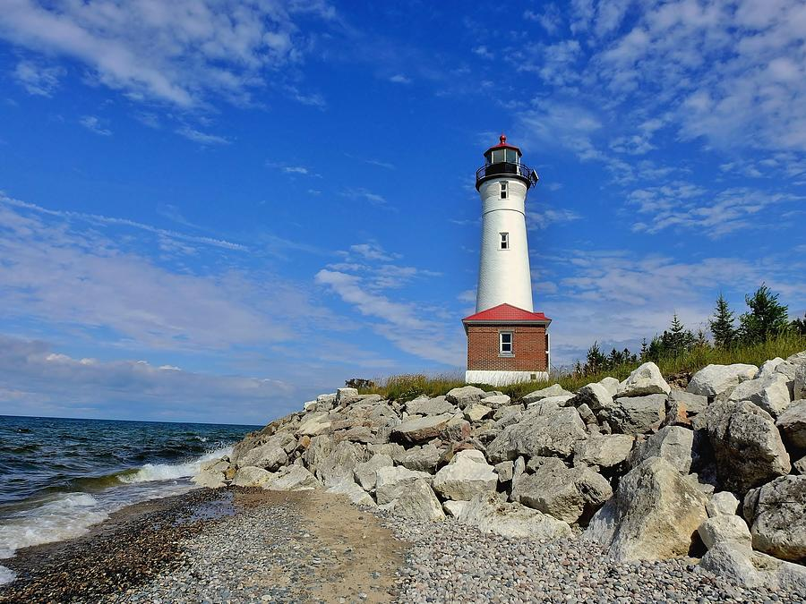 Lighthouse Photograph - Crisp Point On Shore by Carmen Macuga