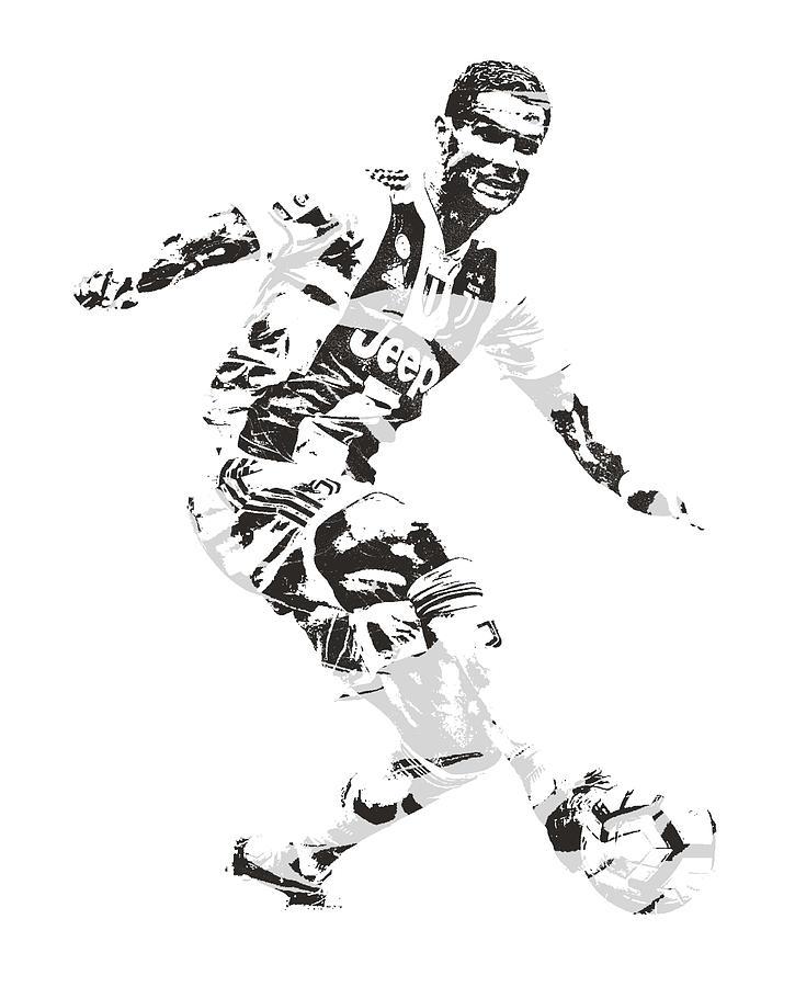 Cristiano Ronaldo Mixed Media - Cristiano Ronaldo Juventus Pixel Art 1 by Joe Hamilton