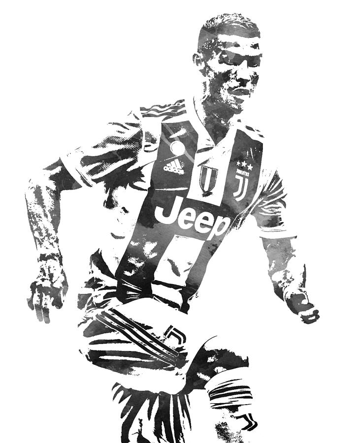 Cristiano Ronaldo Juventus Water Color Pixel Art 4 Mixed Media By Joe Hamilton