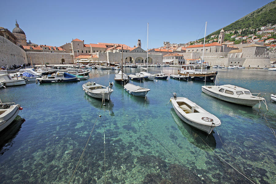 Croatia, Dubrovnik, Boats In Port Photograph by Karl Weatherly