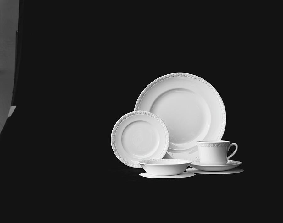 Crockery Against Black Background Photograph by Tom Kelley Archive