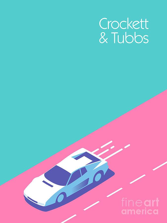 Miami Digital Art - Crockett and Tubbs retro 80s by Organic Synthesis