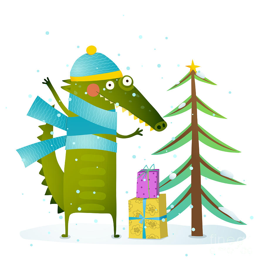 Gift Digital Art - Crocodile Wearing Winter Warm Clothes by Popmarleo