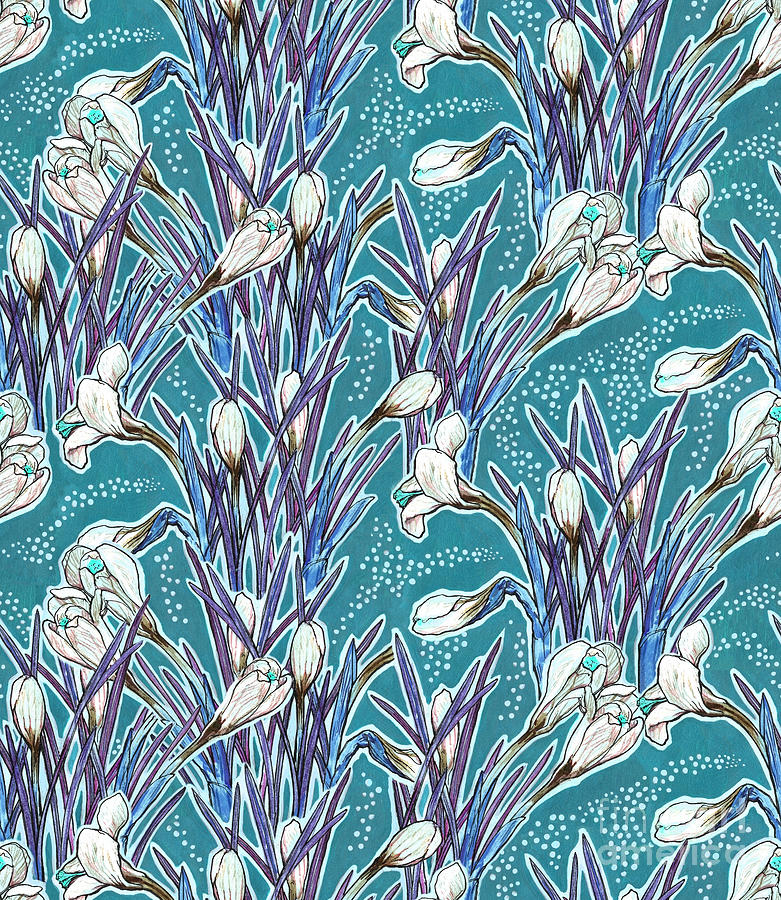 Floral Mixed Media - Crocuses pattern, turquoise and white by Julia Khoroshikh