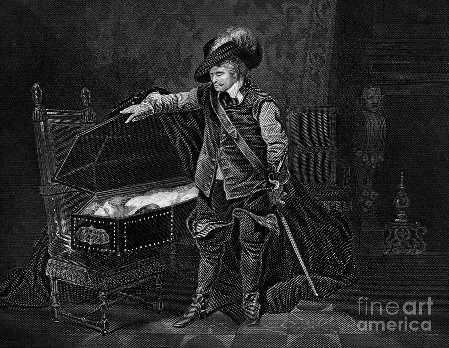 Cromwell Viewing The Dead Body Drawing by Print Collector