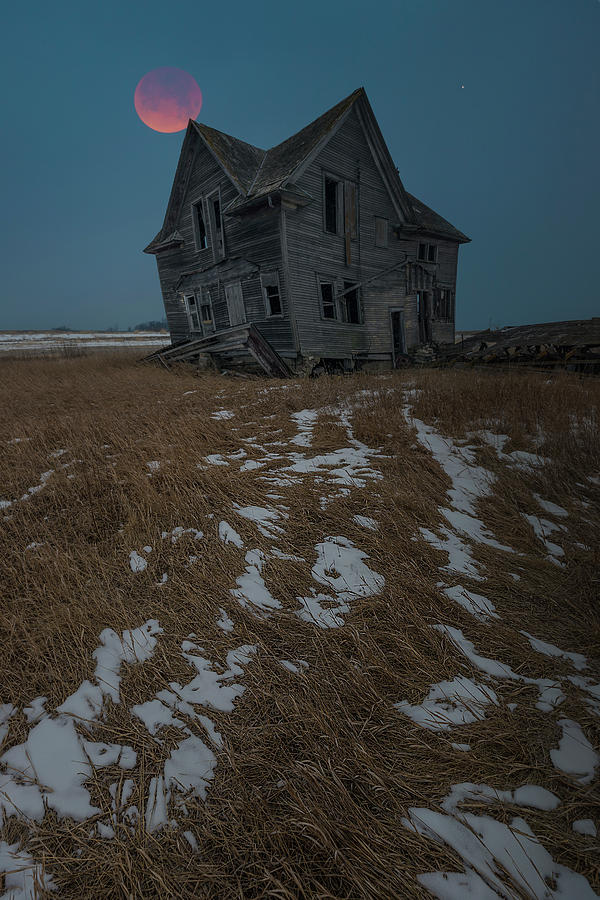 Blood Moon Photograph - Crooked Moon by Aaron J Groen