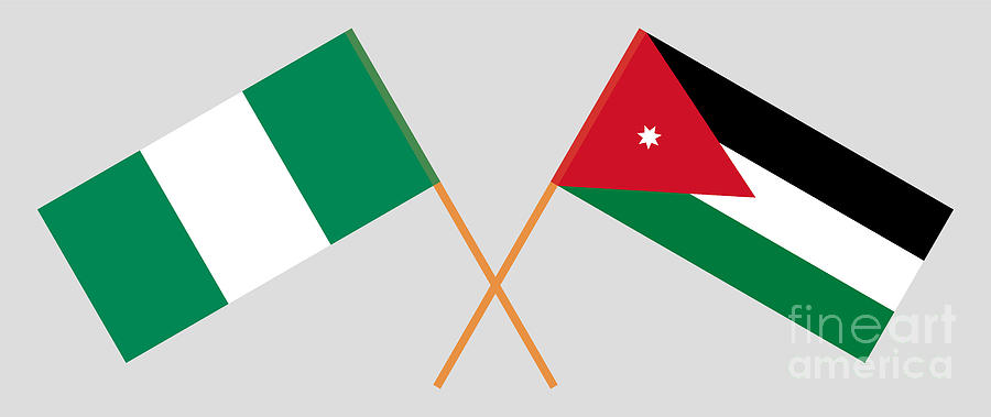 Crossed Flags Of Jordan And Nigeria Digital Art by Izhenya