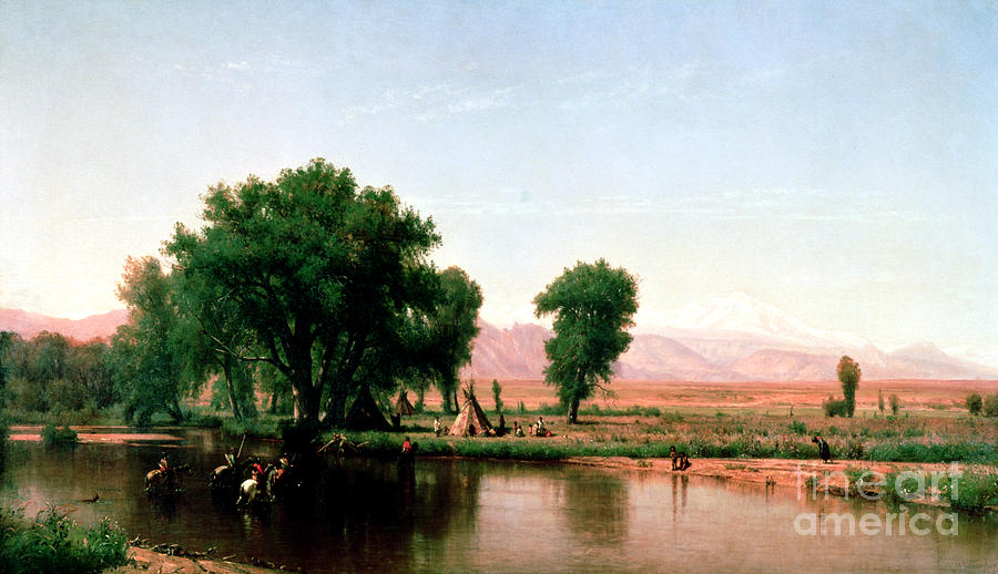Whittredge Painting - Crossing The Ford, Platte River, Colorado by Thomas Worthington Whittredge