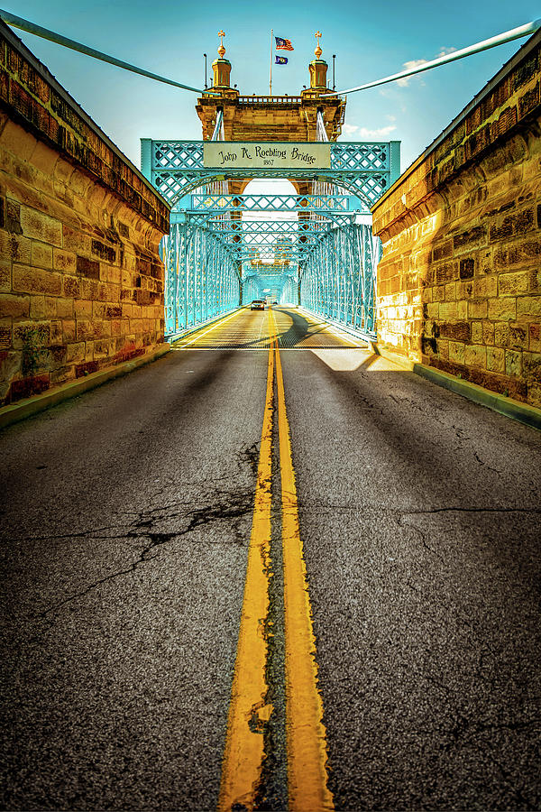 America Photograph - Crossing The Roebling Bridge - Cincinnati Ohio by Gregory Ballos