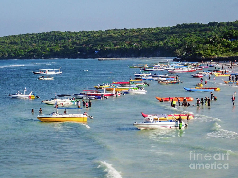 Crowd at Tropical Beach in Indonesia by Yermia Riezky Santiago