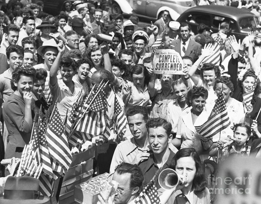 Crowd Celebrating The World War II End Photograph by Bettmann
