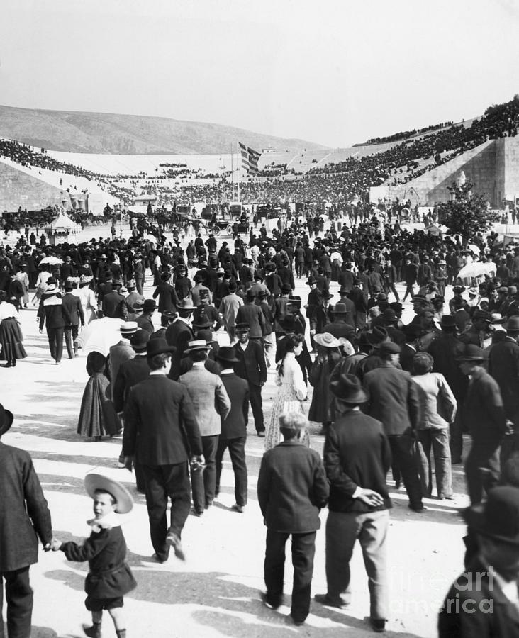 Crowd Entering Stadium For Olympics Photograph by Bettmann